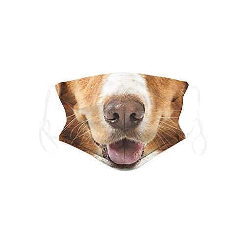 Kinder Mundschutz mit Motiv Hund Tiger Löwe Pferd Tiermotiv Cartoon 3D Lustig Mund und Nasenschutz Waschbar Wiederverwendbar Jungen Mädchen Gesichtsschutz Multifunktionstuch Bandana Halstuch (5)