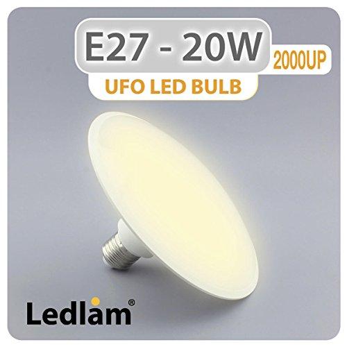 Ampoule LED de rechange E27 UFO 20 W 2000 UP - Blanc chaud - Haute luminosité (1900 lm), 150 W