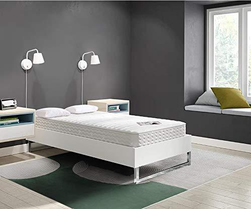 TEENO Matelas 190x90 cm Mousse à mémoire Épaisseur 16 cm Gel Mousse HR 7 Zones de Confort Équilibré