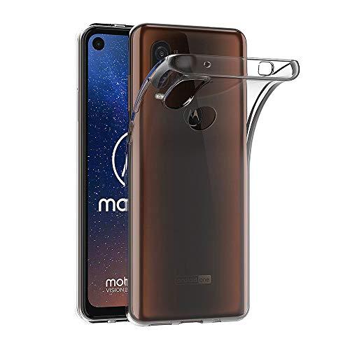AICEK Hülle Compatible für Moto One Vision Transparent Silikon Schutzhülle für Moto One Vision Hülle Clear Durchsichtige TPU Bumper Motorola Moto One Vision Handyhülle (6,3 Zoll)