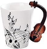 eKsdf Kaffeetasse Porzellan Teetasse mit Motiv kerative Keramiktasse mit Geige Henkel Geschenk Tasse Büro Zuhause Kaffeebecher für heiße und kalte Getränke (Type-1)