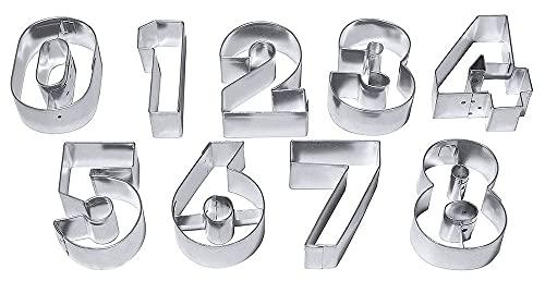 Contacto Ausstechformen ZAHLEN, groß, 9 Ausstecher für alle Ziffern, aus Weißblech