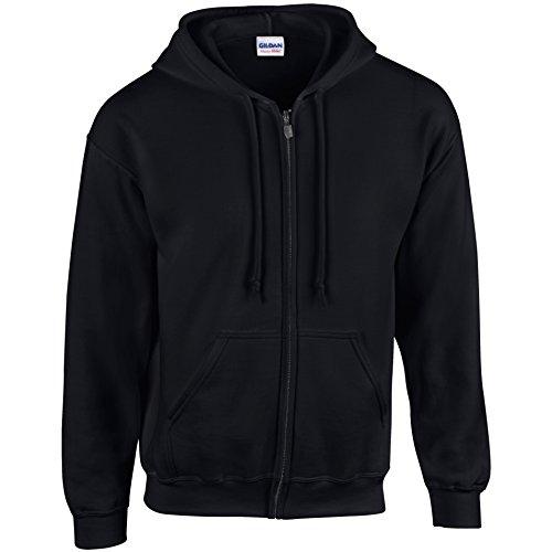 Gildan Herren-Sweatshirt mit Kapuze und Reißverschluss Gr. M, Schwarz