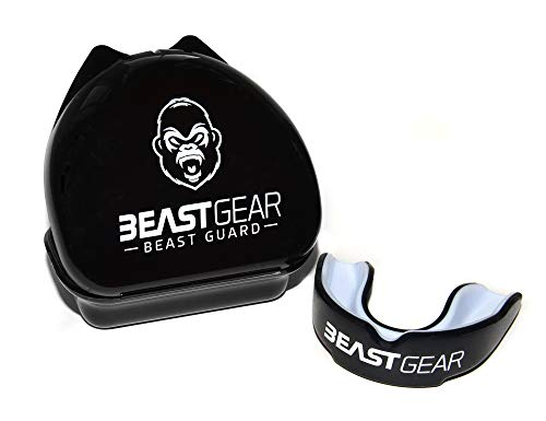 Beast Gear Mundschutz/Zahnschutz - Für Boxen, MMA, Rugby, Kickboxen, Judo, Karate, Hockey & Kampfsport. Sportmundschutz mit Praktischer Aufbewahrungsbox. Schützt Zähne, Zahnfleisch & Kiefer.