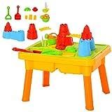 HOMCOM Kinder Sandspielzeug Sandkastentisch mit 23-tlg. Zubehör Spieltisch Strandspielzeug ab 3 Jahren PP Schlossthema 73 x 35 x 70 cm