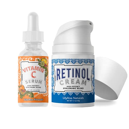 LilyAna Naturals Retinol Cream Moisturizer 1.7 Oz and Vitamin C Serum 1 Oz Bundle - For Face and Eyes, Men and Women - Daily use for Acne, Anti Wrinkle, Anti Aging, Fades Age Spots and Sun Damage