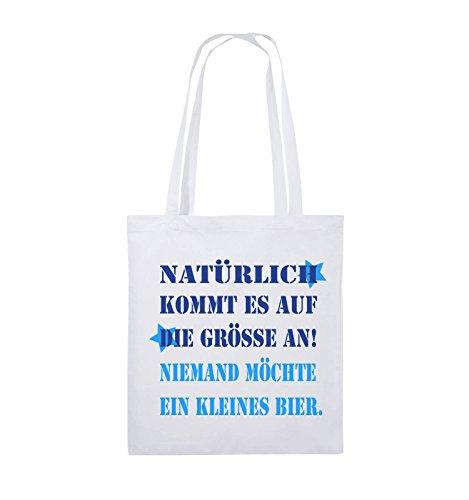 Comedy Bags - Natürlich kommt es auf die Grösse an! Niemand möchte EIN kleines Bier. - Jutebeutel - Lange Henkel - 38x42cm - Farbe: Weiss/Royalblau-Hellblau