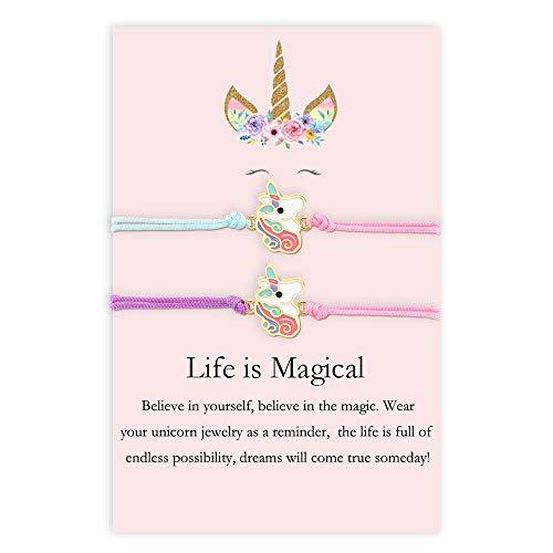 MANVEN Best Friend Bracelets for Girls Unicorn Horse Matching Friendship Bracelet Daughter Birthday Back to School Gifts