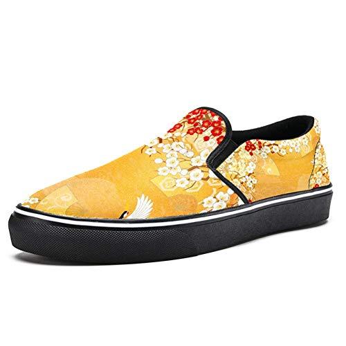 TIZORAX Flying Cranes and Floral Slipper Loafer Schuhe für Herren Jungen Fashion Canvas Flache Bootsschuhe, Mehrfarbig - mehrfarbig - Größe: 42.5 EU