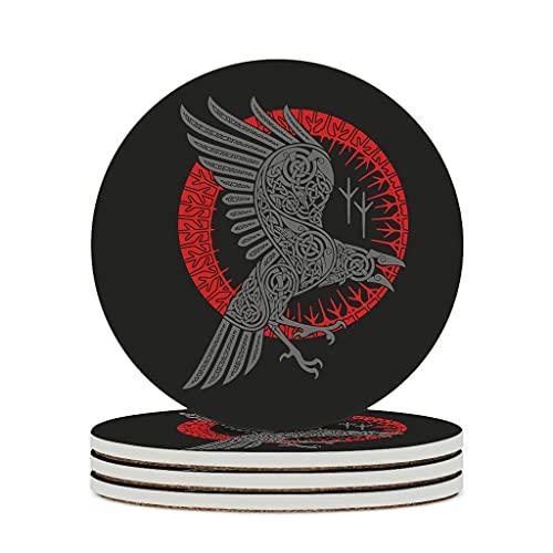 KittyliNO5 Posavasos redondos vikingos Odin cuervo cuervo cuervo de cerámica juego de 4 o 6 posavasos premium con base de corcho cumpleaños inauguración de casa regalos blanco 4 unidades