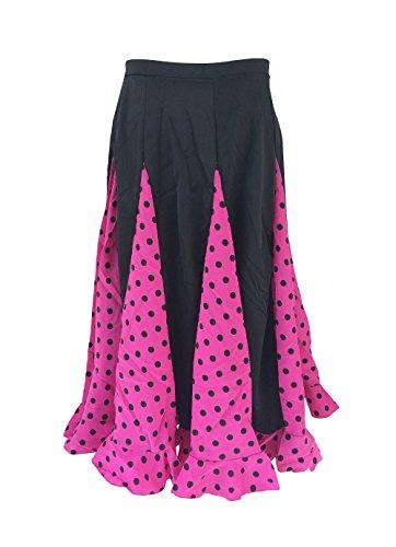 La Señorita Falda Flamenco Sévillane niña Rosa con Puntos Negro (Rosa Negro, Talla 12-9/10 año)