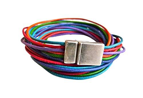 Wickelarmband aus Leder Farbmix kunterbunt Geschenk für Sie