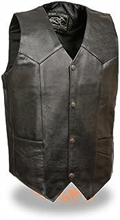 Event Biker Leather Men's Promo Basic Leather Vest (Black, XXX-Large) by Event Biker Leather
