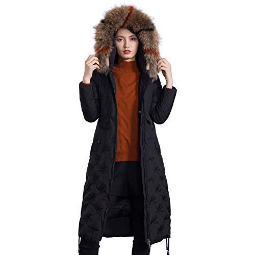 YUFUFU Donsjack Lange dames donsjack vrouwen grote maat capuchon dames winterjas,Zwart, XL