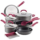 Rachael Ray Create Delicious Hard Anodized Nonstick Cookware Pots and Pans Set, 11 Piece, Gray with Burgundy Handles