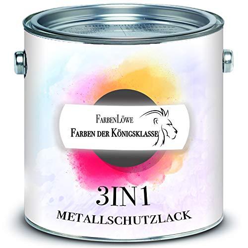 FARBENLÖWE hochmoderne Metallschutzfarbe 3in1 Metallschutzlack 3-in-1 Decklack, Grundierung und Rostschutz - FARBAUSWAHL - Metallfarbe Metalllack Farbe (2,5 L, Rotbraun RAL 8012)