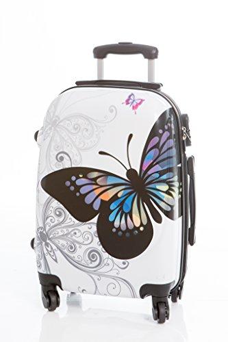 Maleta Mediana Mariposa Blanca 65x42x25 cm 4 Ruedas, con candado de combinación