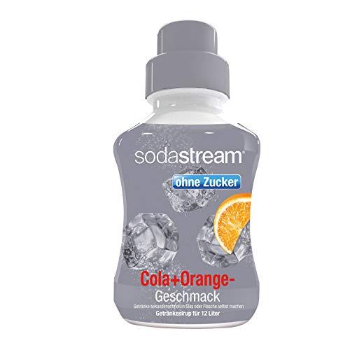 SodaStream Sirup Cola-Orange ohne Zucker, Ergiebigkeit: 1x Flasche ergibt 12 Liter Fertiggetränk, Sekundenschnell zubereitet und immer frisch, 500 ml, grau