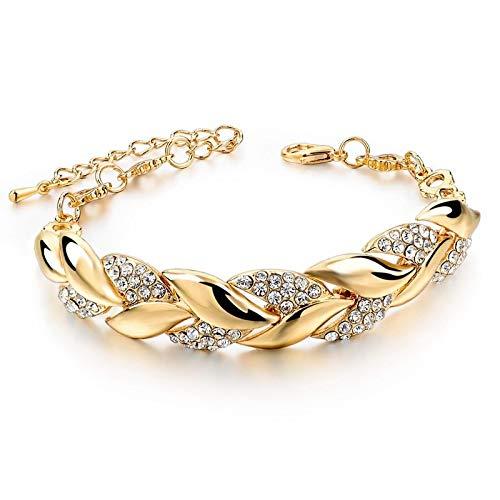 GUOSHUFANG Gouden - Pulsera con cadena de eslabones de cristal de lujo, 20 cm de largo