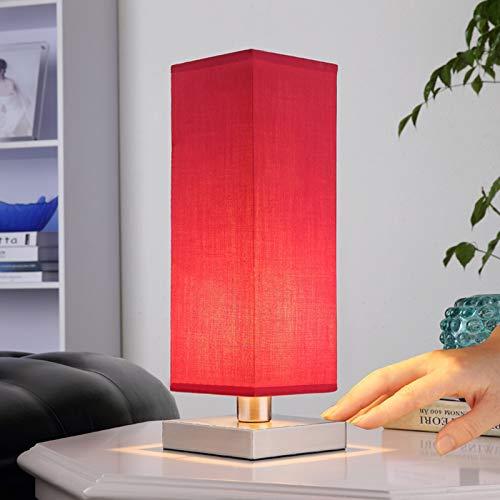 Lámpara de mesa Julina (Moderno) en Rojo hecho de Textura, Tela, Tejido, Seda e.o. para Dormitorio (1 llama, E14, A++) de Lindby   lámpara de mesa textil