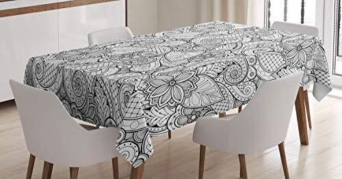 ABAKUHAUS Etnico Tovaglia, Monochrome Doodle Flora, Rettangolare per Sala da Pranzo e Cucina, 140 cm x 240 cm, Nero Bianco