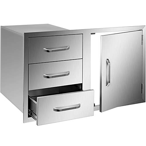 Mophorn Outdoor Kitchen Door Drawer Combo 38 W x 225 H Access DoorTriple Drawers Combo with Stainless Steel Handles Perfect for Outdoor Kitchen or BBQ Island Patio Grill Station