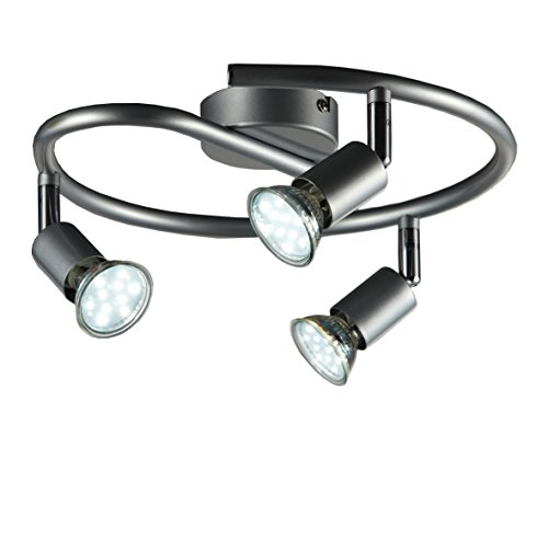 B.K.Licht - Lámpara de techo con 3 focos LED GU10, focos ajustables y giratorios para interiores, de luz blanca cálida , 3W y 250 lúmenes, 3000K, forma de anillo, color titanio, forma de anillo, espiral