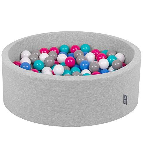 KiddyMoon Bällebad 90X30cm/300 Bälle ∅ 7Cm Bällepool Mit Bunten Bällen Für Babys Kinder Rund, Hellgrau:Weiß-Grau-Blau-Pink-Helltürkis