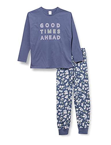 s.Oliver Mädchen Pyjama long motiv blau Pyjamaset, Vintage Indigo, 176