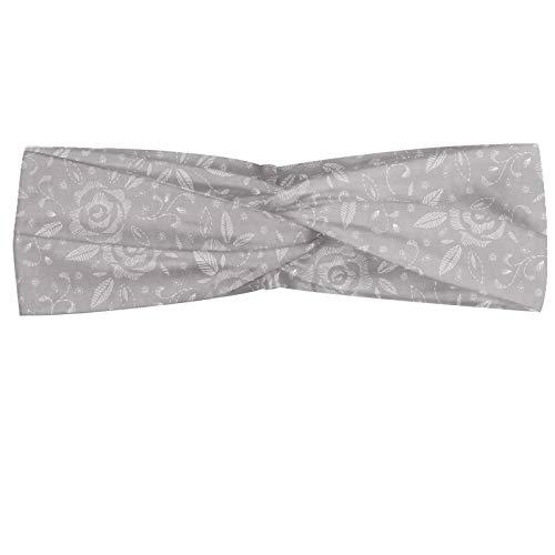 ABAKUHAUS Abstrait Bandeau, Roses féminin Hand Drawn avec courbes et détails dans les tons Greyscale, Serre-tête Féminin Élastique et Doux pour Sport et pour Usage Quotidien, Pale et Pearl Taupe