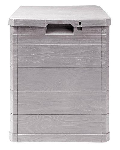 Ondis24 Aufbwahrungsbox Madera Mini Holz-Optik 90L abschließbar Truhe Kissenbox (Warmgrau)