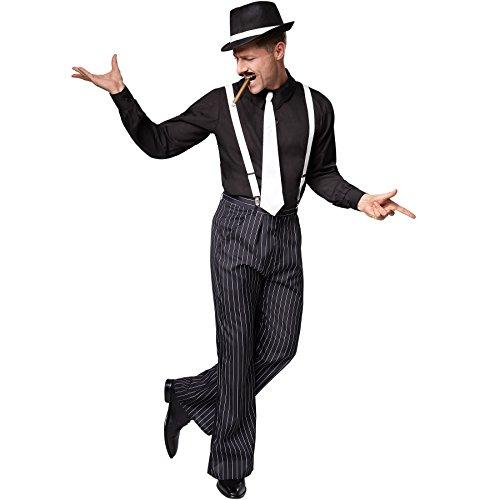 TecTake Herrenkostüm Gentlemen | Hemd mit Nadelstreifenhose | Inkl. Hosenträger und Krawatte (XL | Nr. 301613)