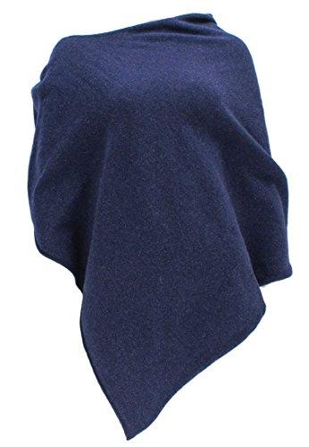 William Lockie Damen Poncho aus Schurwolle Wolle Dunkelblau/Blau (Astra) One Size