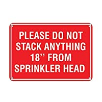 コレクターウォールアート、スプリンクラーヘッドから何も積み重ねないでください、面白い鉄絵ヴィンテージメタルプラーク装飾警告サイン吊りアートワークポスター用バーパーク