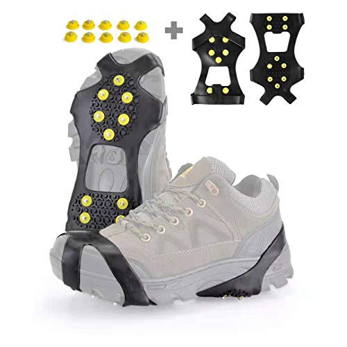 XZSUN Ice Cleats,Snow Ice Traction Shoe Boot Cleats, Anti Slip 10-Studs TPE Rubber Crampons with 10 Extra Studs for Footwear(Sizes: S/M/L/XL ) (Medium(Women(7-9)/Men(5-7)))