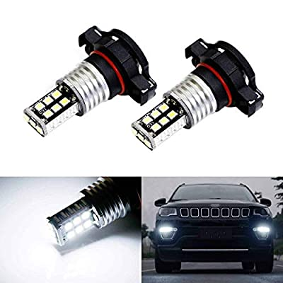 iJDMTOY (2) Xenon White 15-SMD High Power LED Replacement Bulbs Compatible With 2017-up Jeep Compass Daytime Running Lights