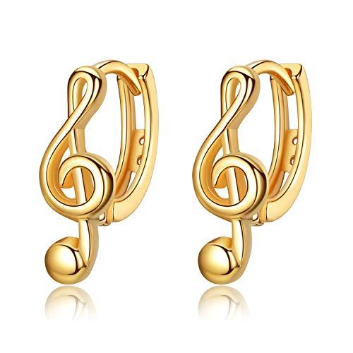 VIKI LYNN Creolen Damen Ohrringe 925 Sterling Silber in Gold Musik Note Creolen Durchmesser 16mm