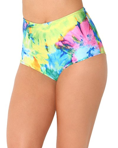 iHeartRaves Rainbow Tie Dye High Waisted Booty Shorts (Large/X-Large)