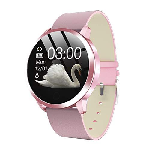 RongWang Reloj Inteligente de Moda para Mujer, Resistente al Agua, Monitor de presión Arterial, Reloj Inteligente, Regalo para Mujer, Reloj Pulsera (Color : Pink 1)