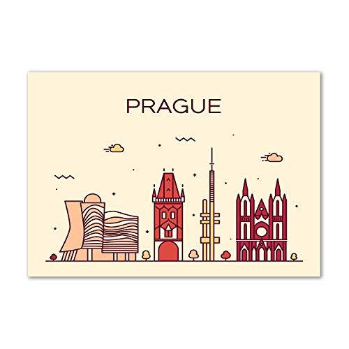 Tulup - Spritzschutz aus Glas für die Küche - 100x70 cm - Küchenrückwand - Küche Herd Wandanbringung Küchenrückwand aus Echtglas Memoboard - Landkarten und Flaggen - Prag Gebäude