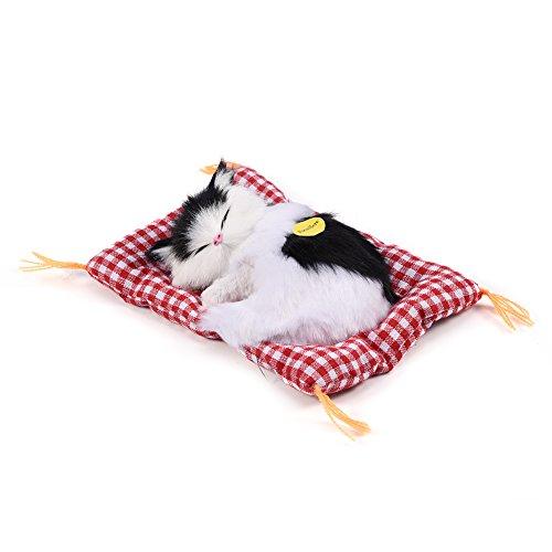 Zerodis Entzückende schlafende Katze mit weichem Mattenbett und simuliertem Ton angefüllte Plüschspielwaren das meiste populäre Feriengeschenk für Vorschuljungen und Mädchen(Schwarz + Weiß)