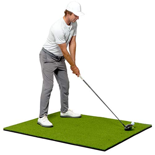 GoSports Golf Hitting Mat - PRO 5x4 Artificial Turf Mat for Indoor/Outdoor Practice - Includes 3 Rubber Tees, Green