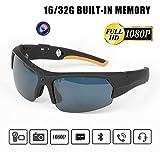 Gafas De Sol HD1080P Cámara Auricular Mini Cámara Inteligente Gafas Reproductor De MP3 Bluetooth Multifuncional para Uso En Exteriores, Mini Cámara De Video con Protección UV Lente Polarizada,32G