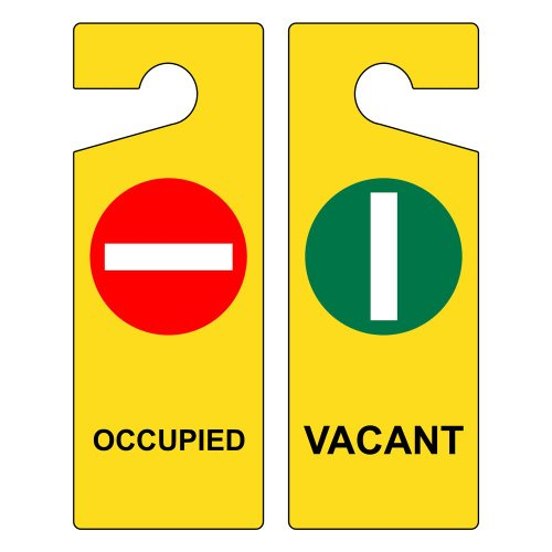 Occupied - Vacant Sign, 8x3 in. Plastic Door Hanger for Dining/Hospitality/Retail by ComplianceSigns