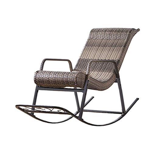 ENOLLA Rattan-Schaukelstuhl mit verstellbarer Rückenlehne, gebogene Rückenlehne, Entspannungsstuhl für Außen- und Innenbereich, Gartenstuhl