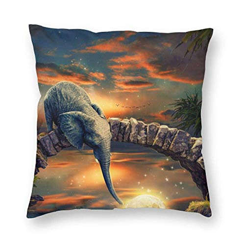 AEMAPE Throw Pillow Covers, Elephant Drinking Water Decorative Square Throw Pillow Covers Soft Soild Cushion Covers for Sofa Bed Chair,18x18 in