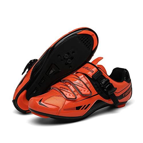 CHANGAN Upgrade Pro Zapatillas de Ciclismo de Carretera para spin, Ciclismo de Carretera, Tacos Zapatillas de Ciclismo MTB (Contiene Pares triples Calcetines de Ciclismo de Invierno Unisex Red-37