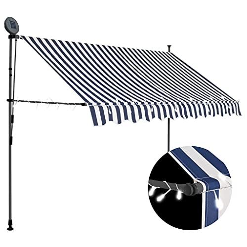 vidaXL Markise Einziehbar Handbetrieben mit LED Wasserabweisend Klemmmarkise Balkonmarkise Sonnenschutz Terrasse Balkon Garten 250cm Blau Weiß