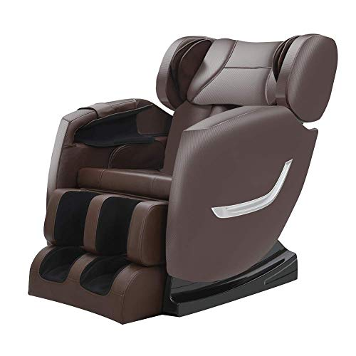 FOELRO Massage Chair Zero Gravity Full Body Shiatsu Recliner with Heating Back and Foot Rollers Massage(Brown)