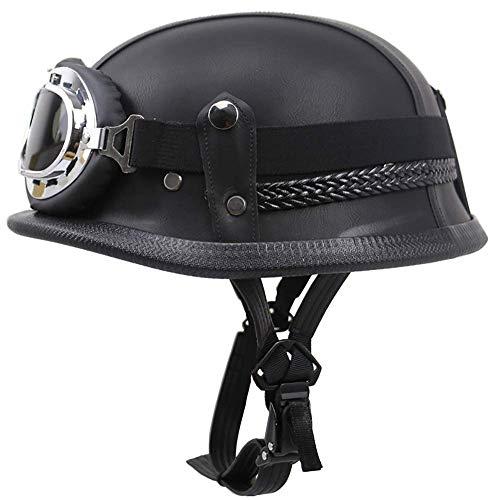 Casco de motocicleta de verano para adultos, casco de cara abierta para hombres y mujeres con gafas de media cara, casco de seguridad unisex para bicicleta scooter Chopper DOT